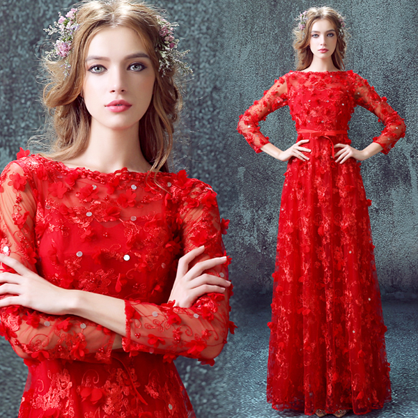 Angel Wedding Dress Red Lace Flower Long Sleeve Bridal Wedding Toast Wedding Wedding Ceremony