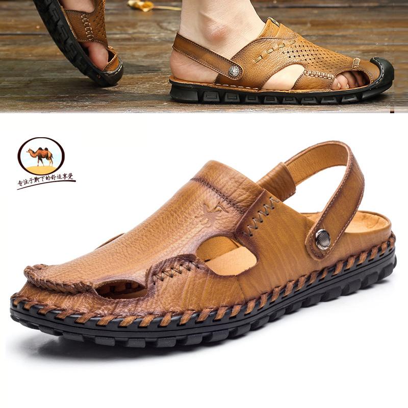头层牛皮包头凉鞋男骆驼沙滩鞋真皮洞洞鞋英伦透气休闲鞋夏季男鞋