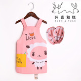 Children's gowns anti-dressing kindergarten waterproof painting clothes boys and girls apron baby breathable belt cover sleeve painting clothes