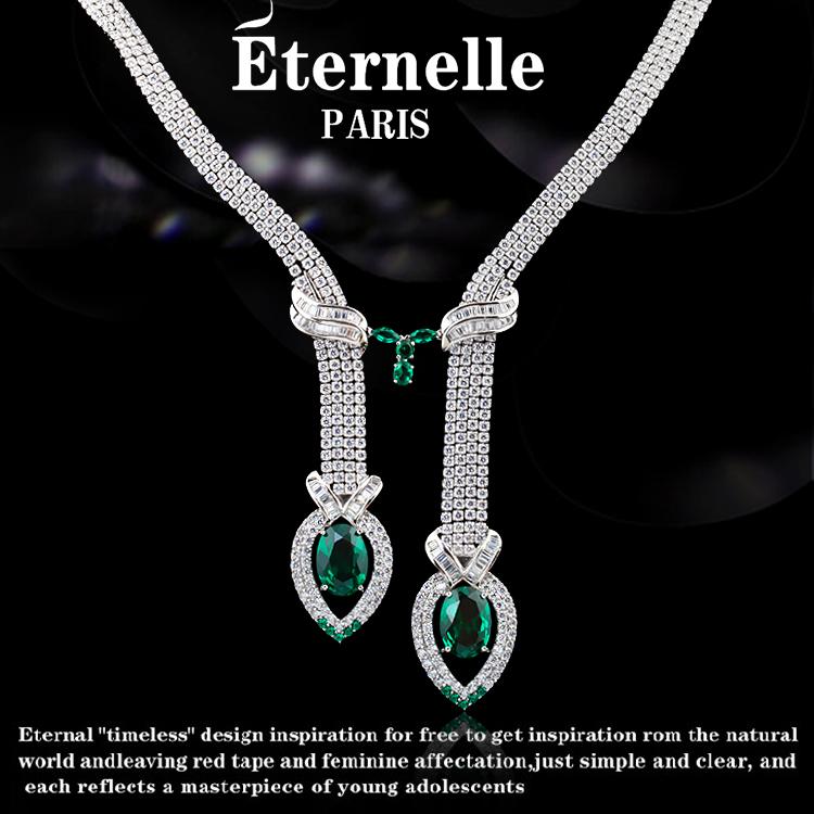 法国Eternelle首饰品925银项链 新娘套装欧美风宴会生日礼物