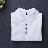 Every day special price girl lapel T-shirt long-sleeved new Spring and Autumn Korean version of cotton children's top high-necked bottom shirt tide