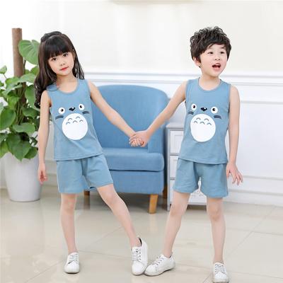 儿童背心套装夏季薄款男童衣服童装女童坎肩夏装宝宝无袖两件套潮