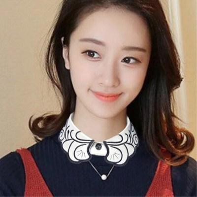 韩国假领子绣花春秋冬季衬衫假领黑白色百搭女衬衣假衣领装饰领