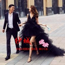 新款影楼主题服装时尚街拍前短后长黑色婚纱情侣写真拍照摄影礼服