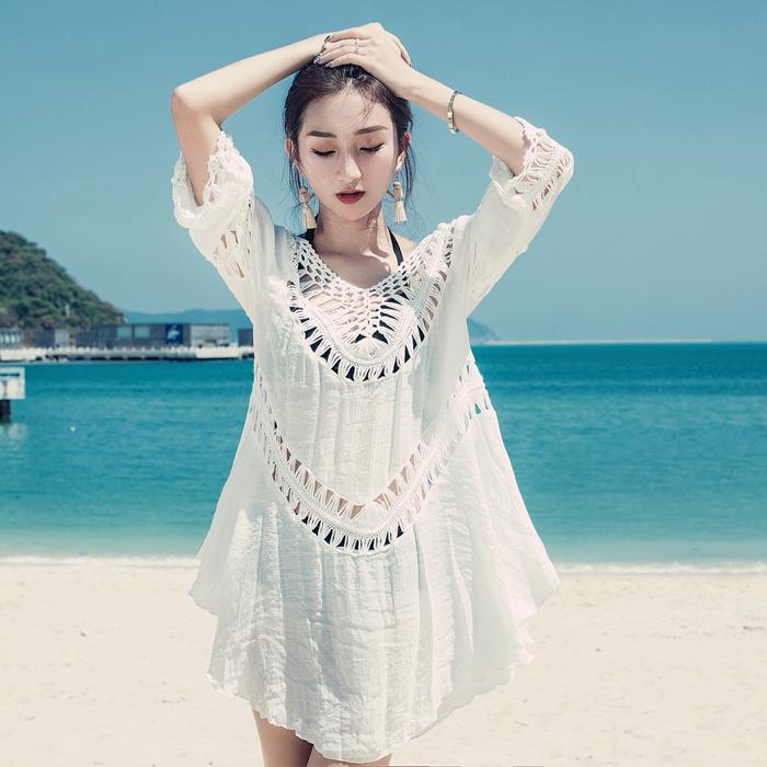 新款海边度假比基尼罩衫泳衣外套镂空中长款裙外搭沙滩衣女