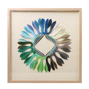 Snnei 橙·蓝 北欧现代高档立体艺术实木手工壁画客餐厅软装饰画