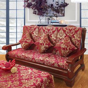 实木沙发垫带靠背加厚海绵中式红木沙发坐垫联邦椅垫木质沙发垫