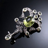Combined jewelry European classical jewelry natural olivine/topaz carving handicraft 925 Sterling Silver Brooch