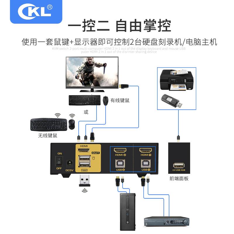 CKL KVM切换器HDMI自动4K60hz 2进1出共享键鼠显示器HUB 92H2