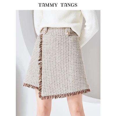 糖力2018冬季新款欧美女装花色流苏编织半身裙高腰不规则A字短裙