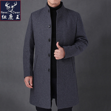 Fall and Winter Thickened Wool Fabric Men's Overcoat Mid-long Collar Father's Mid-aged Cashmere Fabric Overcoat
