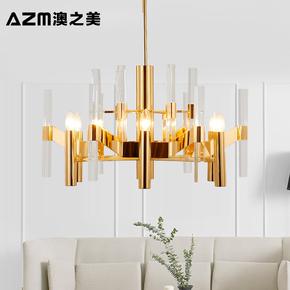 美式乡村后现代大厅水晶玻璃棒吊灯田园风创意个性大气客厅餐厅灯