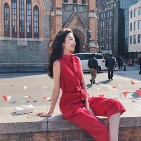 大红色时尚小清新学生收腰连体无袖套装ulzzang韩版气质显瘦复古