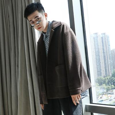 2018新款加厚夹棉毛呢外套男士潮流秋冬季宽松呢子夹克男韩版衣服