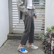 第四十九天夏季垂感显瘦纯色九分裤男士潮流韩版休闲9分直筒裤子
