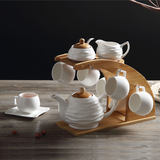 European coffee cup gift set High-grade wedding coffee set ceramic Pure white minimalist afternoon tea set tea cup