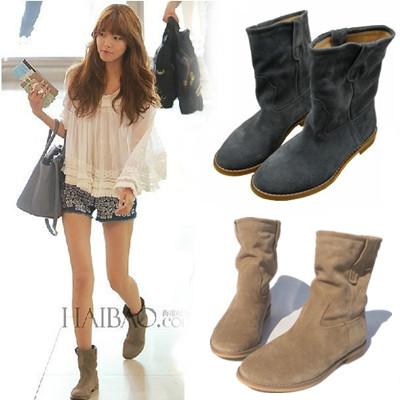 新款短靴女春秋单靴真皮磨砂短靴女平底女短靴切尔靴子马丁靴潮