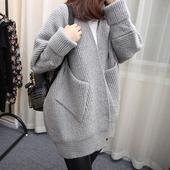 韩版 宽松加厚长袖 2018春秋装 针织衫 中长款 女式开衫 毛衣外套 新款