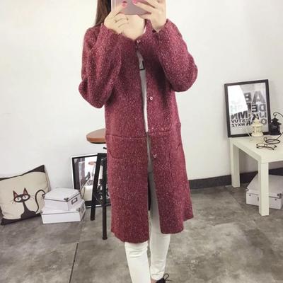 2017春装新款女装针织衫薄外套修身马海毛毛衣女式外搭中长款开衫