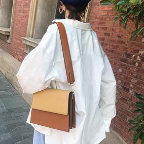 小瑞靓包宽肩带风琴包包女2018新款时尚百搭锁扣手提单肩斜挎包潮