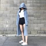 显肤白的雾霾蓝!韩版宽松秋冬中长款连帽风衣外套女针织开衫女潮