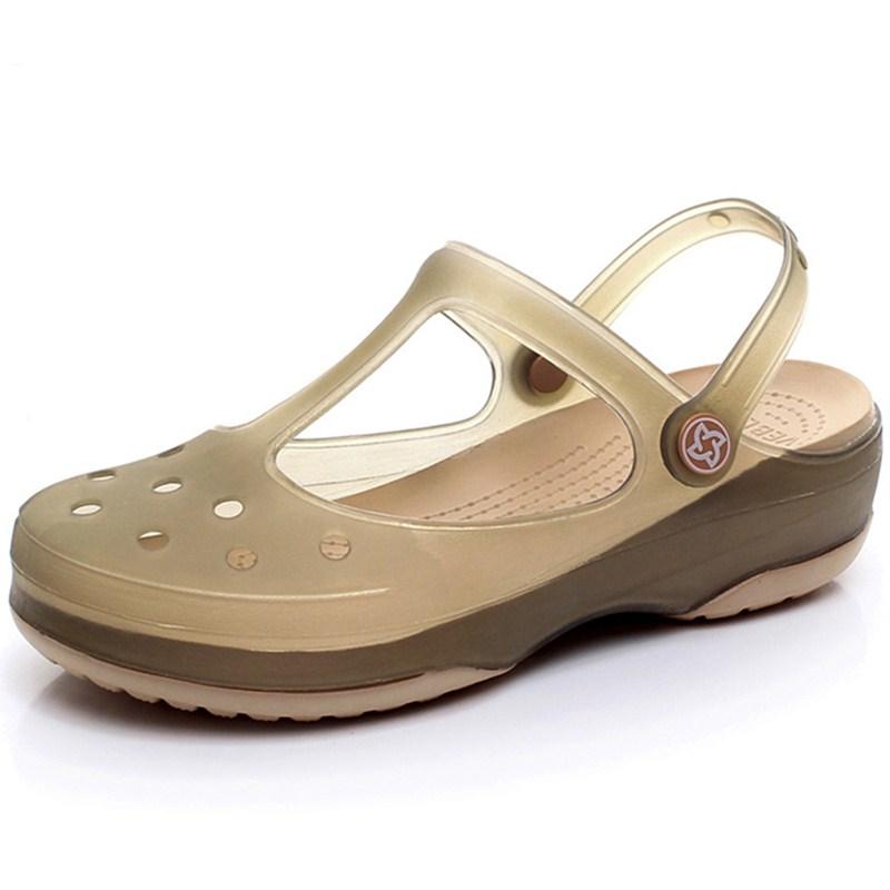 VEBLEN洞洞鞋女夏凉鞋防滑软底沙滩鞋厚底护士拖鞋包头凉拖鞋外穿