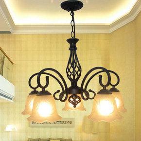吊灯饰欧式铁艺创意美式客厅灯具田园地中海卧室餐厅现代简约三头