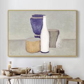 莫兰迪素描装饰画客厅餐厅挂壁画抽象现代简约有框画油画打印画