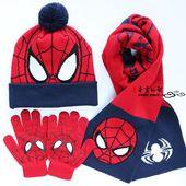 包邮 儿童蜘蛛侠帽子围巾手套男童超人帽子小孩秋冬毛线帽户外帽