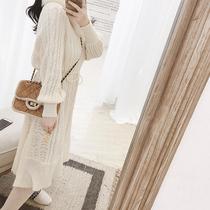 【清仓】胖mm新款大码女装小众复古中长裙气质显瘦仙仙针织连衣裙