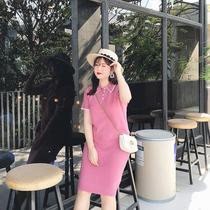 摩妮卡翻领撞色大码女装连衣裙2019春装新款韩版显瘦胖MM裙子