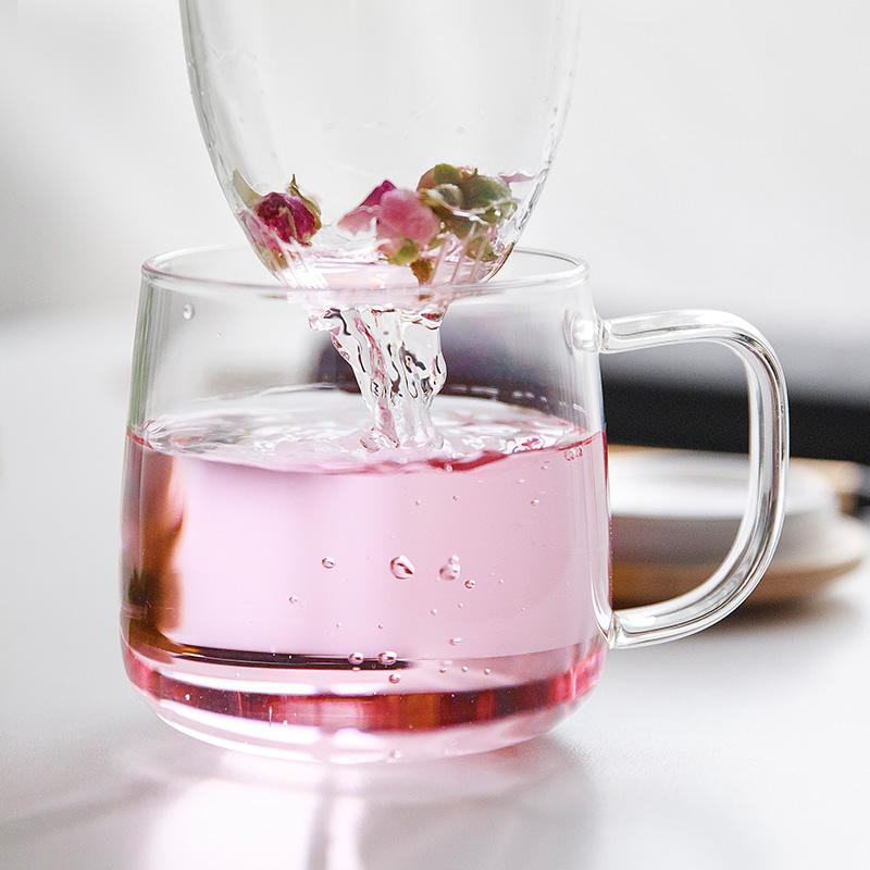 雅集办公玻璃杯茶杯办公花茶杯带把盖过滤茶水分离泡茶家用女杯子