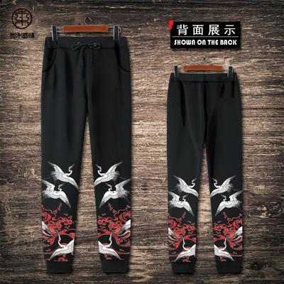 中国风仙鹤男秋冬休闲运动长裤收口小脚卫裤束脚潮青年印花裤大码