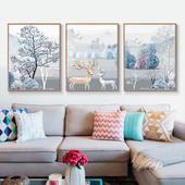 diy数字油画油彩画 三联三拼画手绘填色客厅大幅风景花卉装饰画