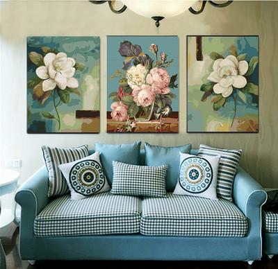 diy数字油画油彩画 三联三拼画手绘填色客厅人物风景花卉装饰画