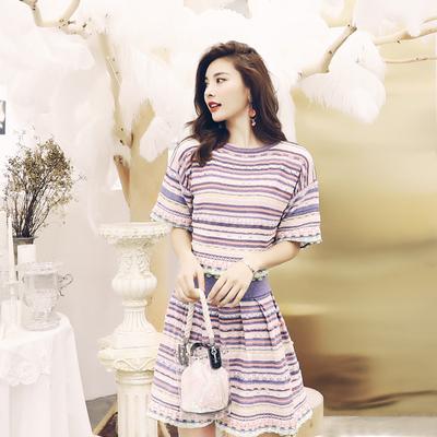洋气名媛气质2018夏装女装新款条纹针织上衣短裙显瘦套装裙两件套