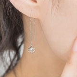 Jin Duo Jewelry Platinum Ear Wire Women PT950 White Gold Earrings Dandelion Stud Earrings
