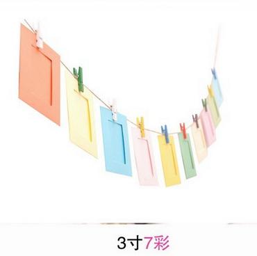3寸10枚装彩色纸相框 创意悬挂拍立得相纸相框带麻绳夹子组合墙