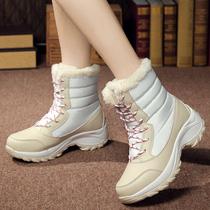 冬季户外雪地靴女防水防滑中筒大码滑雪鞋加绒保暖东北旅游棉鞋女