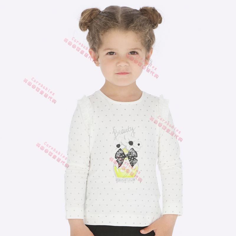 英国正品mayoral童装代购19秋女中童黄色波点香水上衣 t恤