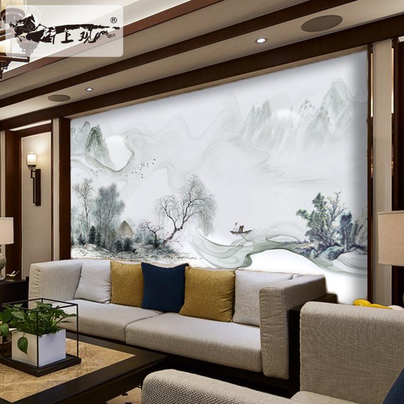 定制壁画现代新中式花鸟山水水墨画客厅电视背景墙壁纸画无缝壁画