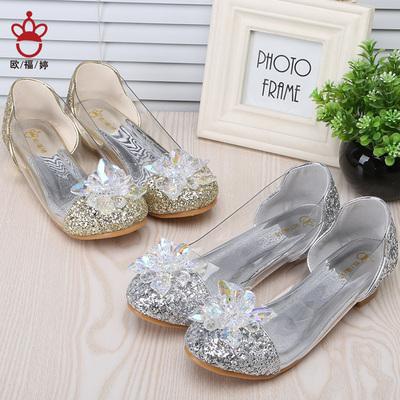 欧福婷儿童灰姑娘水晶鞋公主高跟鞋女童公主鞋单鞋皮鞋水钻表演女