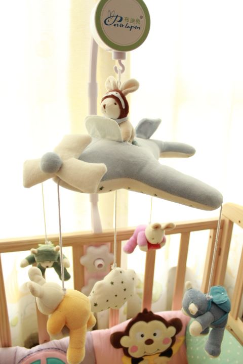 毛绒布艺床铃婴儿玩具音乐旋转床挂铃八音盒宝宝摇铃新生儿床头铃1元优惠券