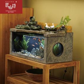 匠心坊流水鱼缸喷泉中式客厅家居水景观风水摆件桌面办公室装饰品