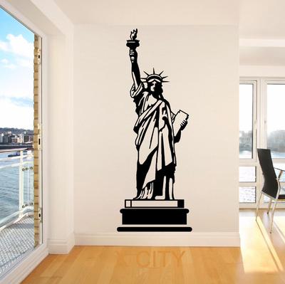 包邮自由女神像墙贴画美国纽约标志创意海报贴图卧室家居装饰画