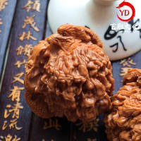 Wenwan Walnut Carving Two Dragons Double Dragon Play Beads Hand Play Walnut Wang Yong Officer Cap Lion Head Four Buildings Dragon