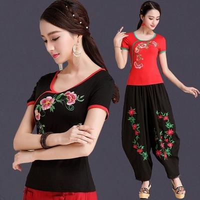中国风绣花民族风女装 夏季刺绣短袖T恤女半袖大码打底衫显瘦上衣