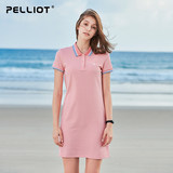 Pelliot and sports long dresses Women's summer casual short-sleeved stand collar polo shirts quick-drying clothes sports t-shirt