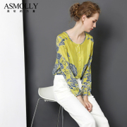 定位花型 女装宫廷气质100%桑蚕丝上衣印花真丝衬衫女长袖设计款