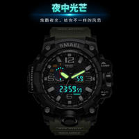 War wolf 2 special forces luminous multi-function waterproof double show army fan watch sports outdoor large dial watch men's